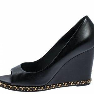 Chanel Women Shoes Heels Wedge Leather Black 38.5